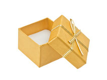 Yellow gift box with ribbon Royalty Free Stock Photos