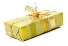 Yellow gift box Stock Photos