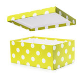 Yellow gift box with white polka dots Royalty Free Stock Photography