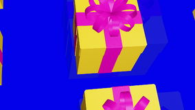Yellow Gift boxes on a blue stock video footage