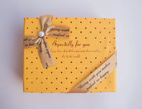Yellow gift boxes Stock Images