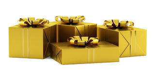 Yellow gift boxes with golden ribbons isolated on white Royalty Free Stock Image
