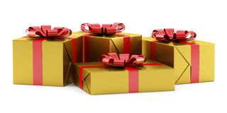 Yellow gift boxes with red ribbons isolated on white Stock Photos