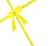 Yellow gift ribbon bow Royalty Free Stock Photography