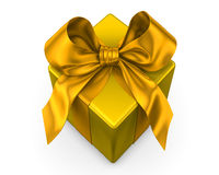 Yellow gift with yellow ribbon Royalty Free Stock Photos