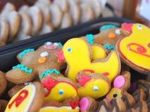 Yellow gingerbread duck stock photo