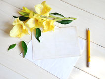 Yellow gladiolus and card with pencil on wooden background. Stock Photos