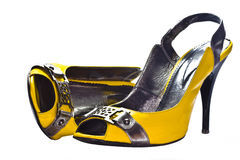 Yellow glamour shoes Royalty Free Stock Images