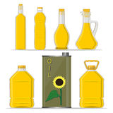 Yellow glass bottle Sunflower Oil. Vector illustration logo for yellow glass bottle Sunflower Oil,plastic bottles with cap,iron jar sunflower oil,metal container royalty free illustration