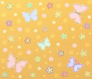 Yellow glitter pattern. With flowers royalty free illustration