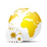 Yellow Globe with daisies Stock Image