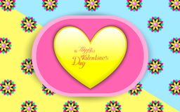 Yellow glossy heart. On a pink saucer with a floral background Royalty Free Stock Photography