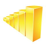 Yellow Glossy Stat Bars Royalty Free Stock Photo