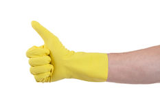 Yellow glove for cleaning show thumbs up Stock Image