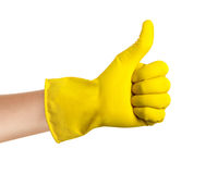 Yellow Glove with thumbs up Royalty Free Stock Images