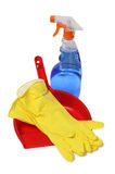 Yellow gloves and bottle Stock Images