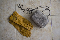 Yellow gloves and clutch Royalty Free Stock Image