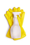 Yellow gloves and spray Stock Photography