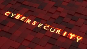 Yellow glowing letters of the word cybersecurity on top of diffe Royalty Free Stock Photo
