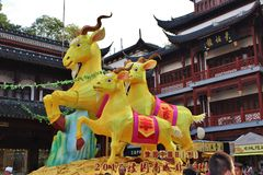 Yellow goats in the Old Town, Shanghai Royalty Free Stock Photo