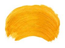 Yellow gold acrylic brushstroke. Design element isolated on white Stock Photos