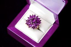 Yellow gold amethyst ring Royalty Free Stock Image