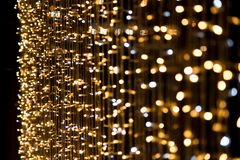 Yellow gold and blue light Ornamental tube bokeh abstract style Stock Photo
