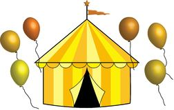 Yellow, Gold and Bronze Circus Tent with Balloons Royalty Free Stock Photography