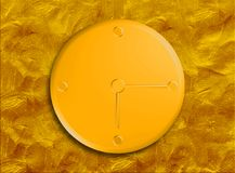 Yellow and gold clock 6 15. Yellow and gold metallic clock 6 15 with textured / patterned background Stock Image