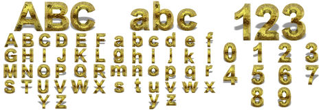 Yellow gold or golden fonts isoalted Royalty Free Stock Image
