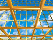 Yellow /gold grid with sky. Yellow / gold metallic grid illustration with sky background Stock Images