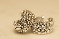 Yellow gold hoop earrings royalty free stock photos