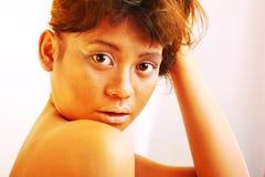 Yellow gold makeup Stock Photo