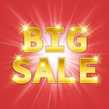 Yellow gold metal Big Sale text icon. Vector Royalty Free Stock Image