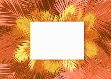 Yellow and gold Palms leafs blank card background concept. Yellow and gold Palms leafs with white blank card background concept vector illustration