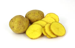 Yellow Gold Potato and Slices Royalty Free Stock Photo