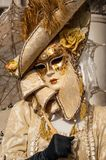 Yellow gold Venice Mask Royalty Free Stock Images