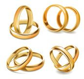 Yellow Gold Wedding Rings And Two Bands Realistic Vector Collection Stock Image