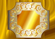Yellow Gold and White Gold frame with quartz crystals Stock Photography