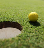 Yellow golf-ball Royalty Free Stock Images
