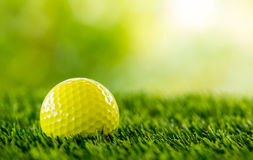 Yellow golf ball Royalty Free Stock Image