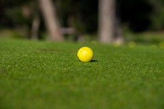 Yellow Golf ball Stock Photo