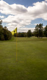 Yellow golf flag. On a course in maine Royalty Free Stock Photo