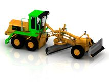 Yellow grader with green cabin Royalty Free Stock Images