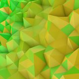 Yellow gradient low poly geometric surface abstract 3D rendering. Yellow gradient low poly geometric surface. Rainbow color triangular polygons shape. Computer Stock Photos