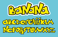 Yellow Graffiti Font Alphabet. Vector letters design. Royalty Free Stock Images