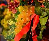 Yellow Grapes with red ribbon Stock Photos