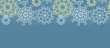 Yellow gray abstract mandalas horizontal seamless pattern background Stock Photos