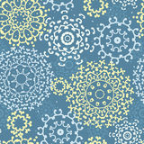 Yellow gray abstract mandalas seamless pattern background Stock Photography