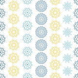 Yellow gray abstract mandalas striped seamless pattern background Royalty Free Stock Photography